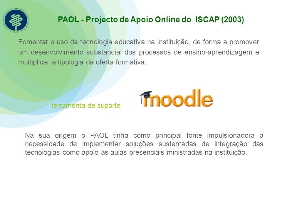PAOL - Projecto de Apoio Online do ISCAP (2003) ferramenta de suporte Fomentar o uso da tecnologia educativa na instituição, de forma a promover um de
