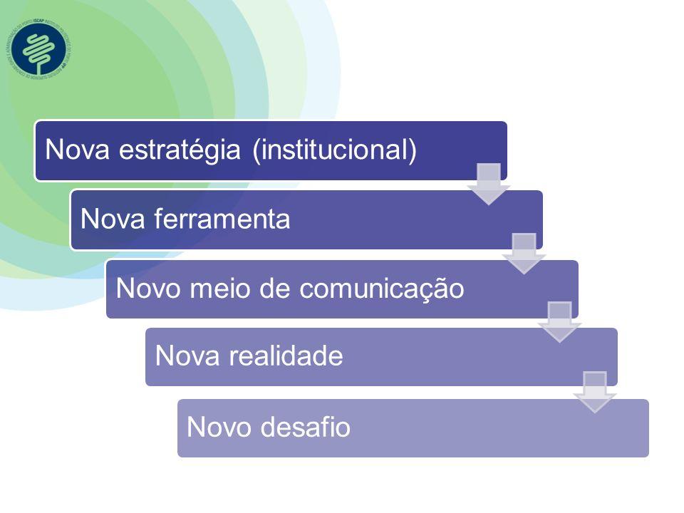 Nova estratégia (institucional)Nova ferramentaNovo meio de comunicaçãoNova realidadeNovo desafio
