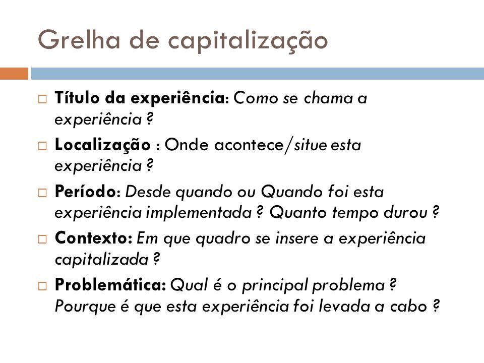 Grelha de capitalização (cont.) Outras iniciativas: Quais são as outras experiências relativas a esta problemática .