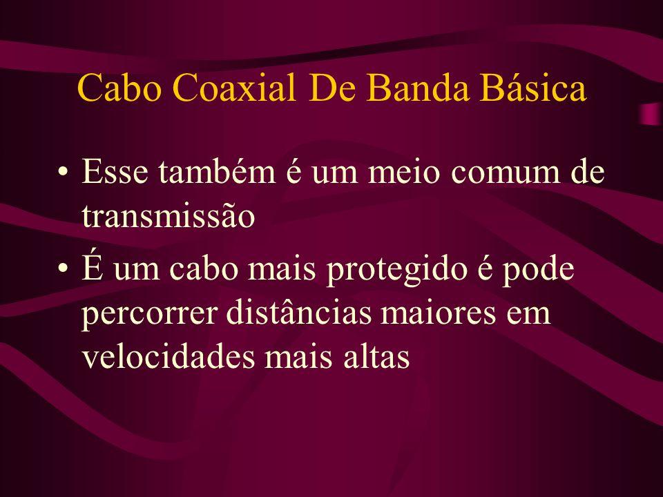 Cabo Coaxial De Banda Básica Esse também é um meio comum de transmissão É um cabo mais protegido é pode percorrer distâncias maiores em velocidades mais altas