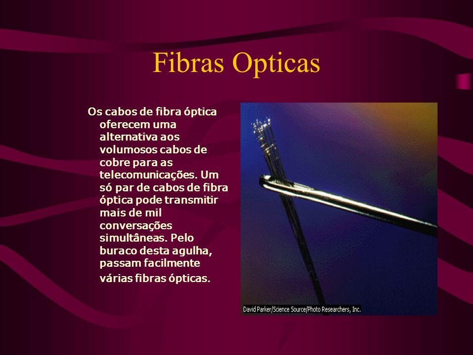 Fibras Opticas Os cabos de fibra óptica oferecem uma alternativa aos volumosos cabos de cobre para as telecomunicações.