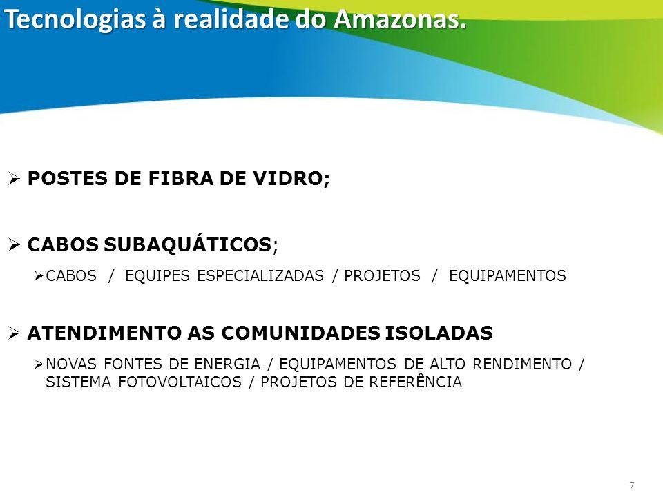 7 POSTES DE FIBRA DE VIDRO; CABOS SUBAQUÁTICOS; CABOS / EQUIPES ESPECIALIZADAS / PROJETOS / EQUIPAMENTOS ATENDIMENTO AS COMUNIDADES ISOLADAS NOVAS FON