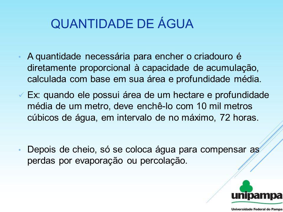 QUANTIDADE DE ÁGUA A quantidade necessária para encher o criadouro é diretamente proporcional à capacidade de acumulação, calculada com base em sua ár