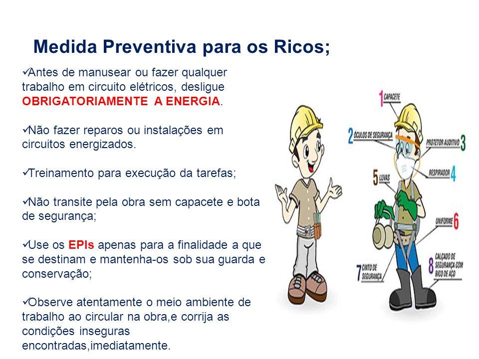 Medida Preventiva para os Ricos; Antes de manusear ou fazer qualquer trabalho em circuito elétricos, desligue OBRIGATORIAMENTE A ENERGIA. Não fazer re