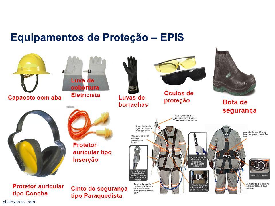 photoxpress.com Equipamentos de Proteção – EPIS Capacete com aba Luva de cobertura Eletricista Luvas de borrachas Óculos de proteção Bota de segurança
