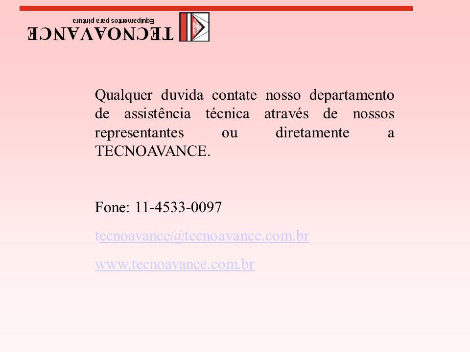 Qualquer duvida contate nosso departamento de assistência técnica através de nossos representantes ou diretamente a TECNOAVANCE. Fone: 11-4533-0097 te