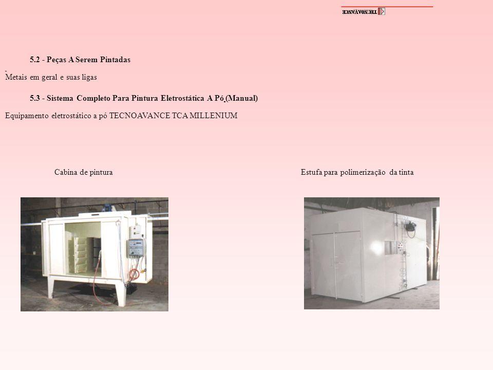 5.2 - Peças A Serem Pintadas Metais em geral e suas ligas 5.3 - Sistema Completo Para Pintura Eletrostática A Pó (Manual) Equipamento eletrostático a