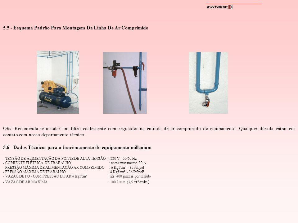 5.5 - Esquema Padrão Para Montagem Da Linha De Ar Comprimido Obs. Recomenda-se instalar um filtro coalescente com regulador na entrada de ar comprimid