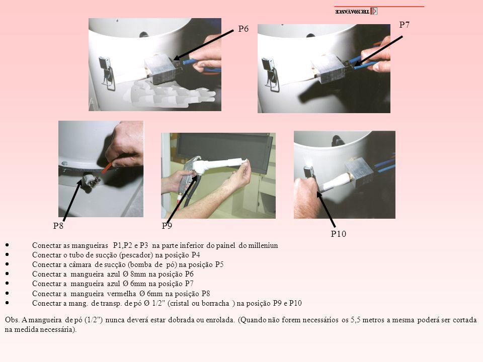 P6 P7 P8P9 P10 Conectar as mangueiras P1,P2 e P3 na parte inferior do painel do milleniun Conectar o tubo de sucção (pescador) na posição P4 Conectar