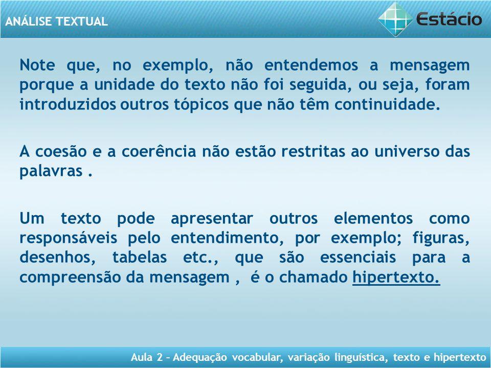ANÁLISE TEXTUAL Aula 2 – Adequação vocabular, variação linguística, texto e hipertexto Note que, no exemplo, não entendemos a mensagem porque a unidad