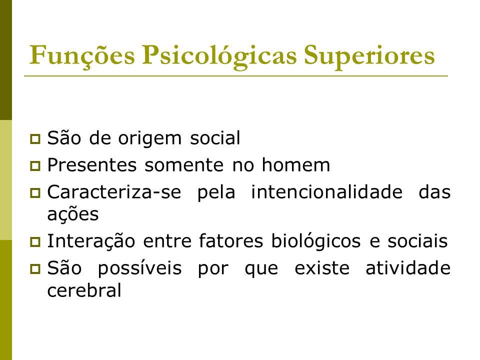 Funções Psicológicas Superiores São de origem social Presentes somente no homem Caracteriza-se pela intencionalidade das ações Interação entre fatores
