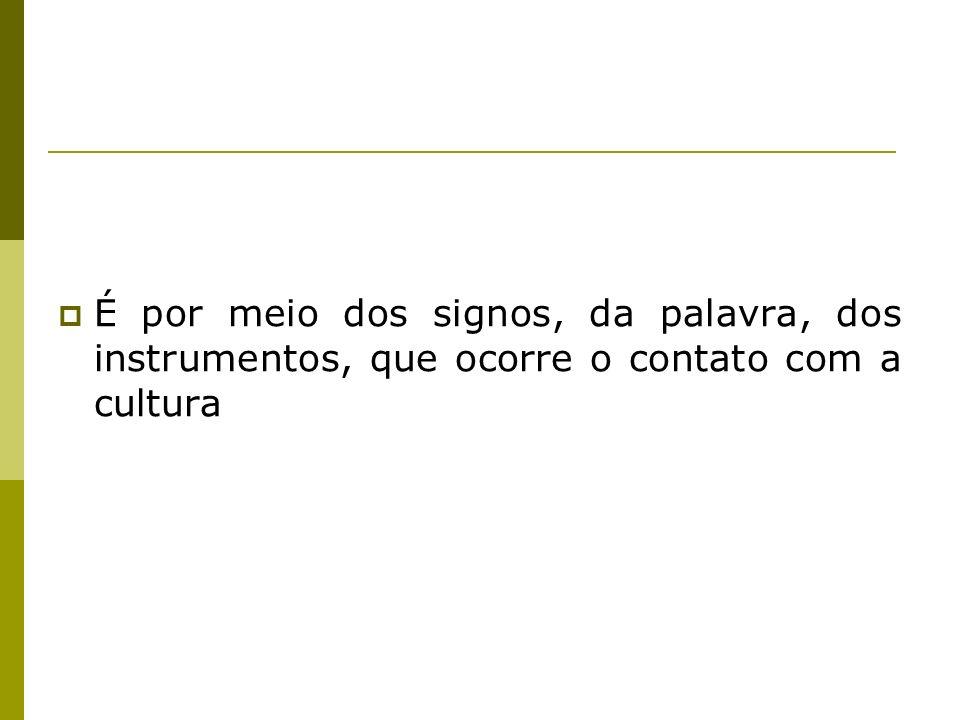 É por meio dos signos, da palavra, dos instrumentos, que ocorre o contato com a cultura