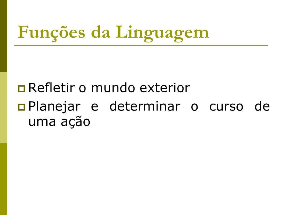 Funções da Linguagem Refletir o mundo exterior Planejar e determinar o curso de uma ação