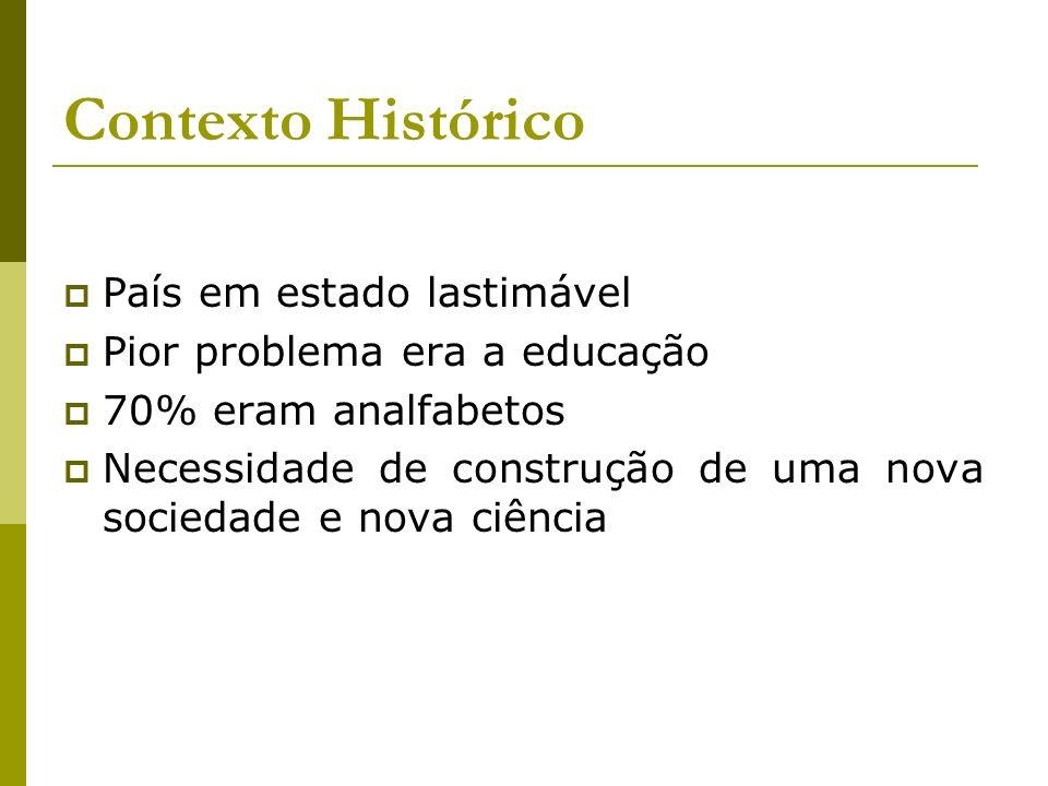 Contexto Histórico País em estado lastimável Pior problema era a educação 70% eram analfabetos Necessidade de construção de uma nova sociedade e nova