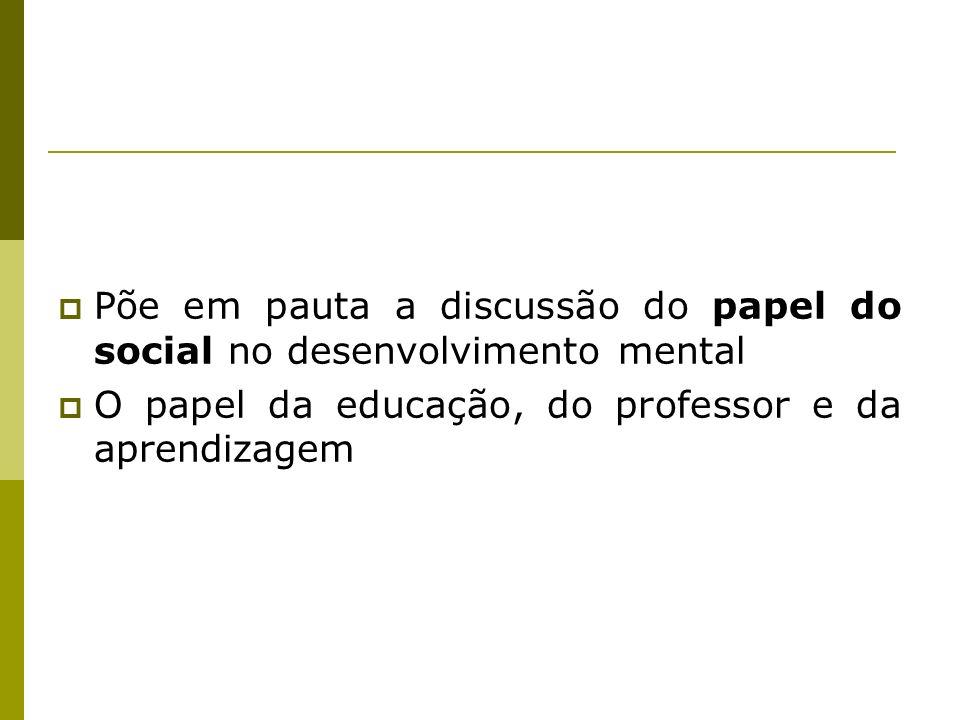 Põe em pauta a discussão do papel do social no desenvolvimento mental O papel da educação, do professor e da aprendizagem