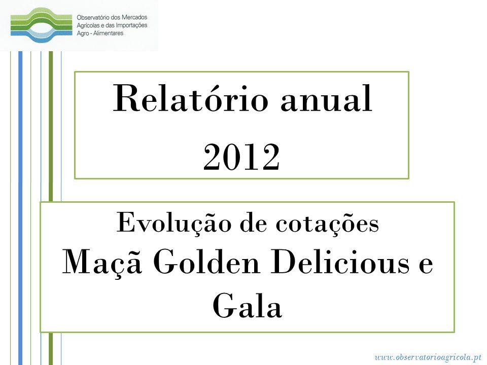 www.observatorioagricola.pt Evolução de cotações Maçã Golden Delicious e Gala Relatório anual 2012