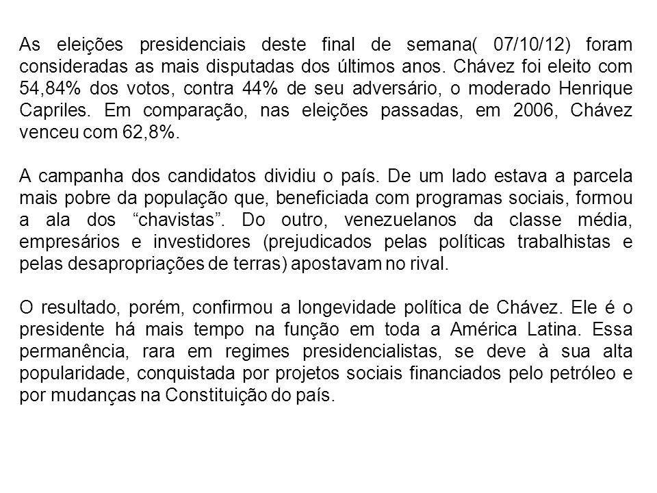 As eleições presidenciais deste final de semana( 07/10/12) foram consideradas as mais disputadas dos últimos anos.