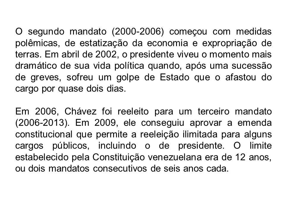 O segundo mandato (2000-2006) começou com medidas polêmicas, de estatização da economia e expropriação de terras.