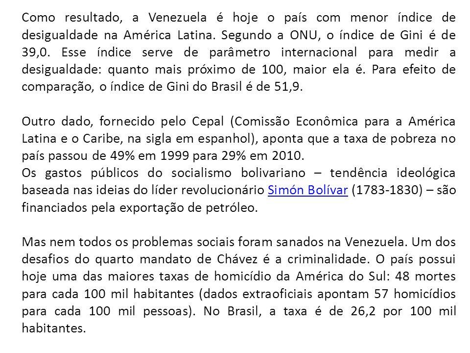 Como resultado, a Venezuela é hoje o país com menor índice de desigualdade na América Latina.