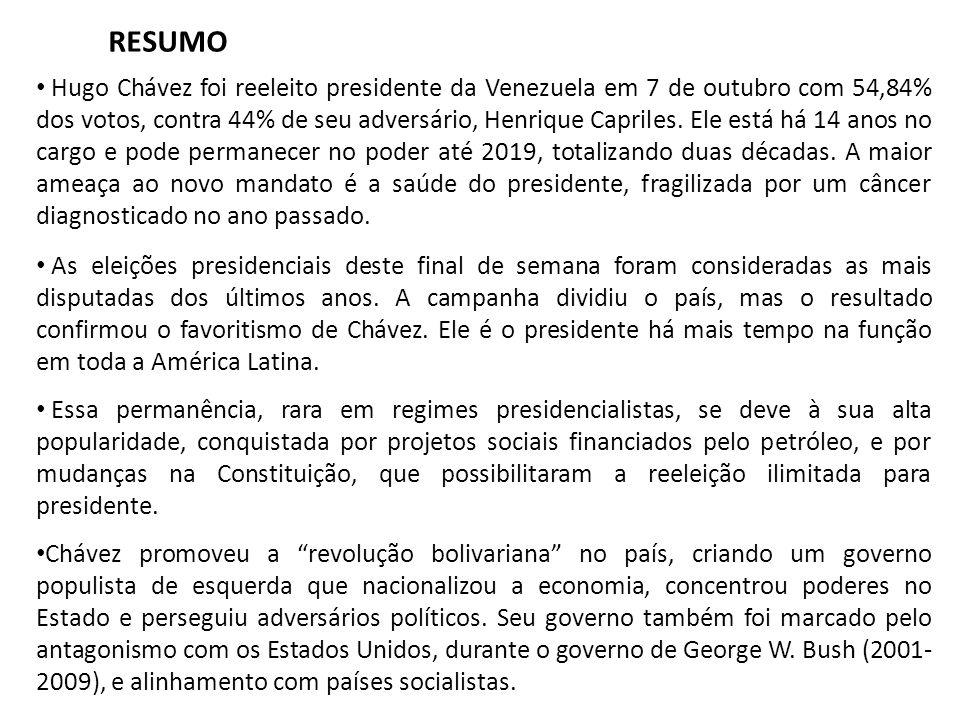 Hugo Chávez foi reeleito presidente da Venezuela em 7 de outubro com 54,84% dos votos, contra 44% de seu adversário, Henrique Capriles.