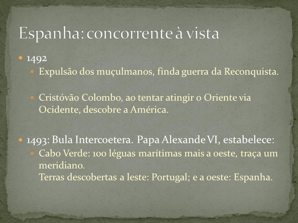 1492 Expulsão dos muçulmanos, finda guerra da Reconquista. Cristóvão Colombo, ao tentar atingir o Oriente via Ocidente, descobre a América. 1493: Bula