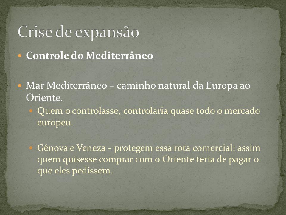 Controle do Mediterrâneo Mar Mediterrâneo – caminho natural da Europa ao Oriente. Quem o controlasse, controlaria quase todo o mercado europeu. Gênova