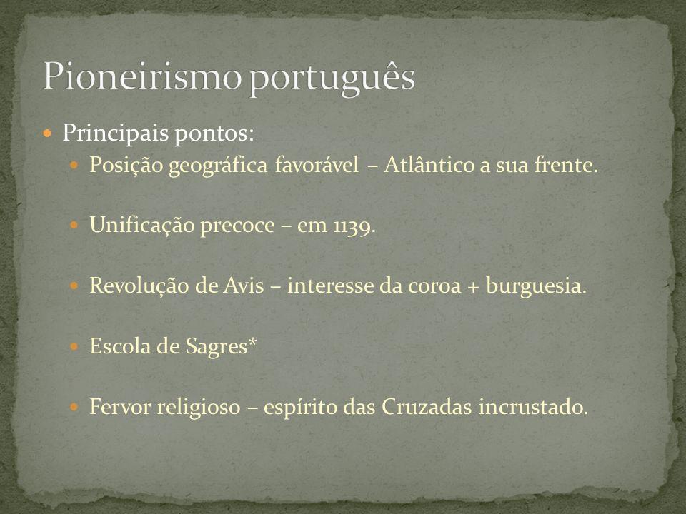 Principais pontos: Posição geográfica favorável – Atlântico a sua frente. Unificação precoce – em 1139. Revolução de Avis – interesse da coroa + burgu