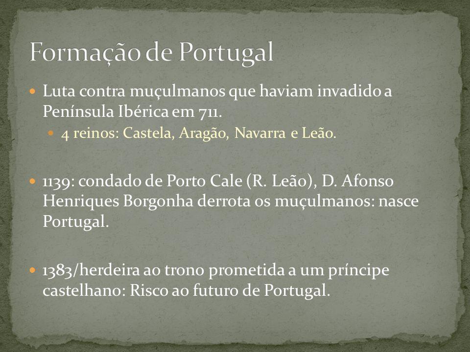 Luta contra muçulmanos que haviam invadido a Península Ibérica em 711. 4 reinos: Castela, Aragão, Navarra e Leão. 1139: condado de Porto Cale (R. Leão