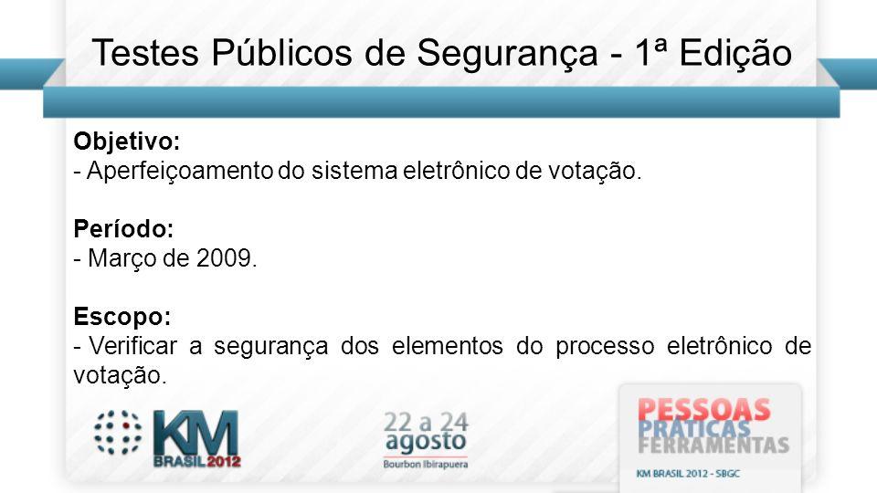 Objetivo: - Aperfeiçoamento do sistema eletrônico de votação. Período: - Março de 2009. Escopo: - Verificar a segurança dos elementos do processo elet