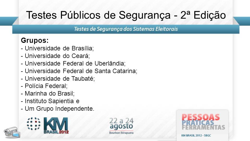 Grupos: - Universidade de Brasília; - Universidade do Ceará; - Universidade Federal de Uberlândia; - Universidade Federal de Santa Catarina; - Univers