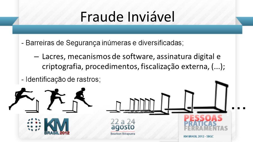 Fraude Inviável - Barreiras de Segurança inúmeras e diversificadas; – Lacres, mecanismos de software, assinatura digital e criptografia, procedimentos