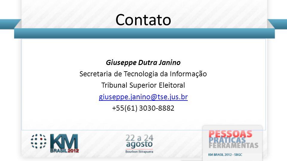 Contato Giuseppe Dutra Janino Secretaria de Tecnologia da Informação Tribunal Superior Eleitoral giuseppe.janino@tse.jus.br +55(61) 3030-8882