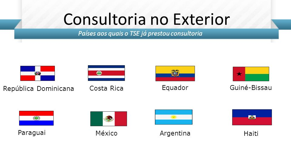 Haiti Consultoria no Exterior República Dominicana Costa Rica Equador Guiné-Bissau Paraguai MéxicoArgentina Países aos quais o TSE já prestou consulto