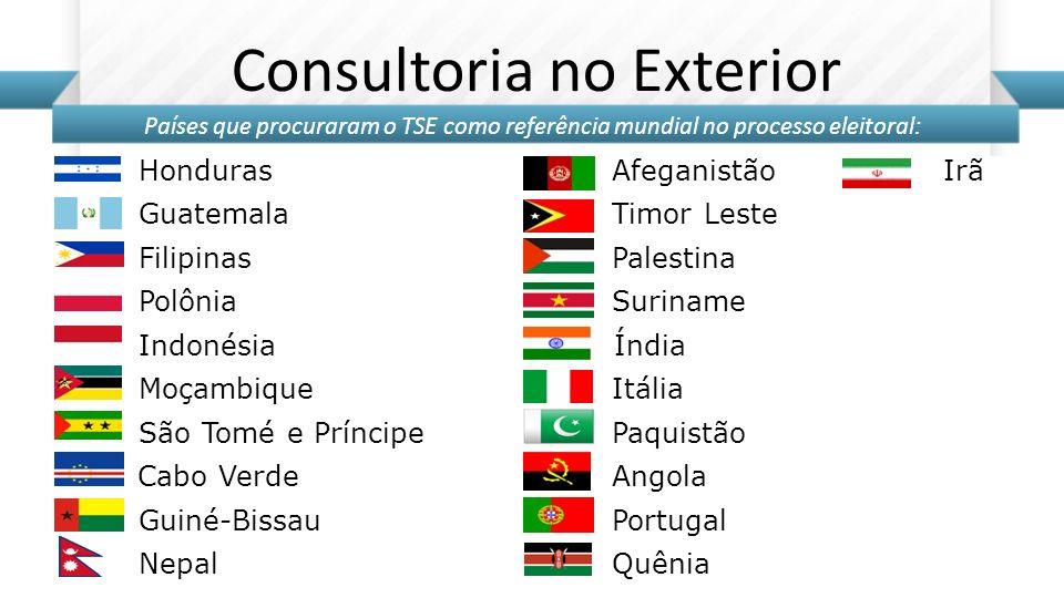 Honduras Afeganistão Guatemala Timor Leste Filipinas Palestina Polônia Suriname Indonésia Índia Moçambique Itália São Tomé e Príncipe Paquistão Cabo V