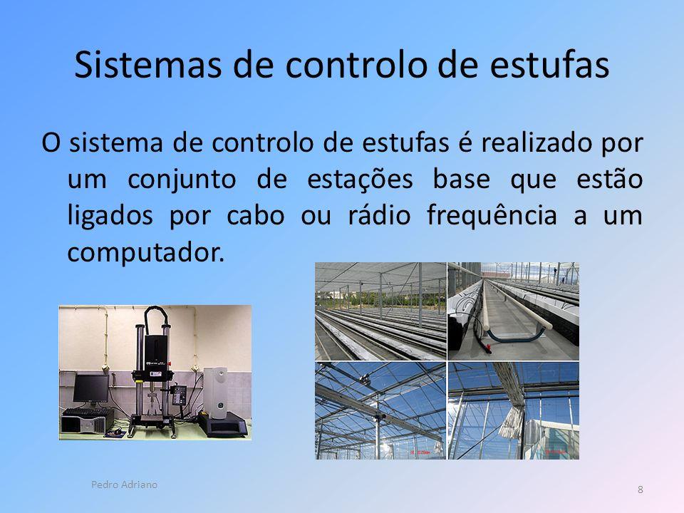 Sistemas de controlo de estufas O sistema de controlo de estufas é realizado por um conjunto de estações base que estão ligados por cabo ou rádio frequência a um computador.