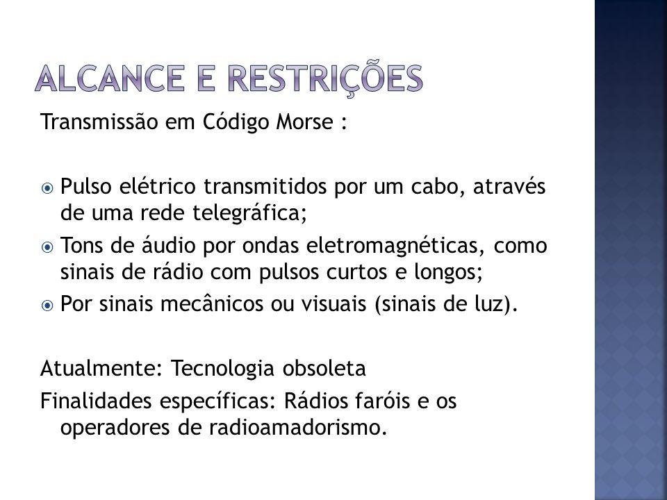 Transmissão em Código Morse : Pulso elétrico transmitidos por um cabo, através de uma rede telegráfica; Tons de áudio por ondas eletromagnéticas, como