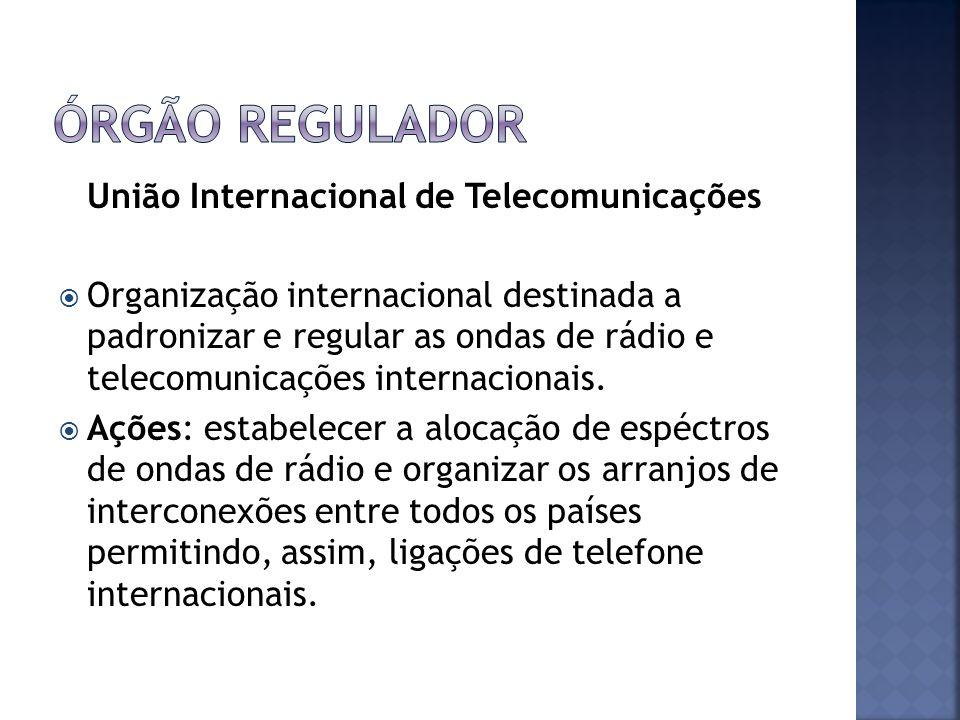 União Internacional de Telecomunicações Organização internacional destinada a padronizar e regular as ondas de rádio e telecomunicações internacionais