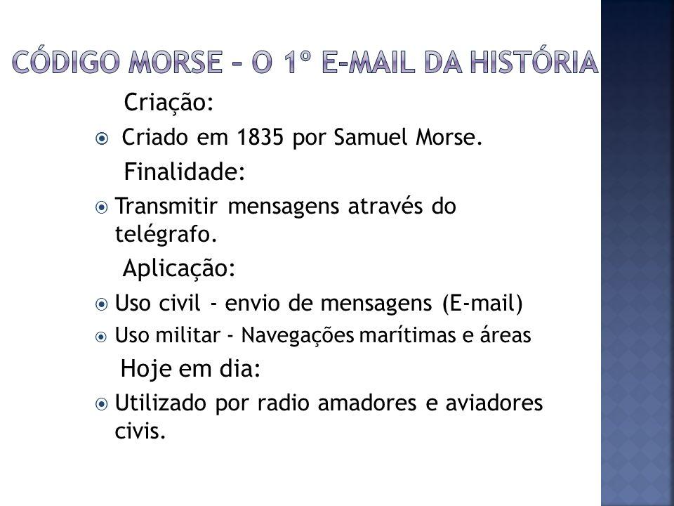 Criação: Criado em 1835 por Samuel Morse. Finalidade: Transmitir mensagens através do telégrafo. Aplicação: Uso civil - envio de mensagens (E-mail) Us