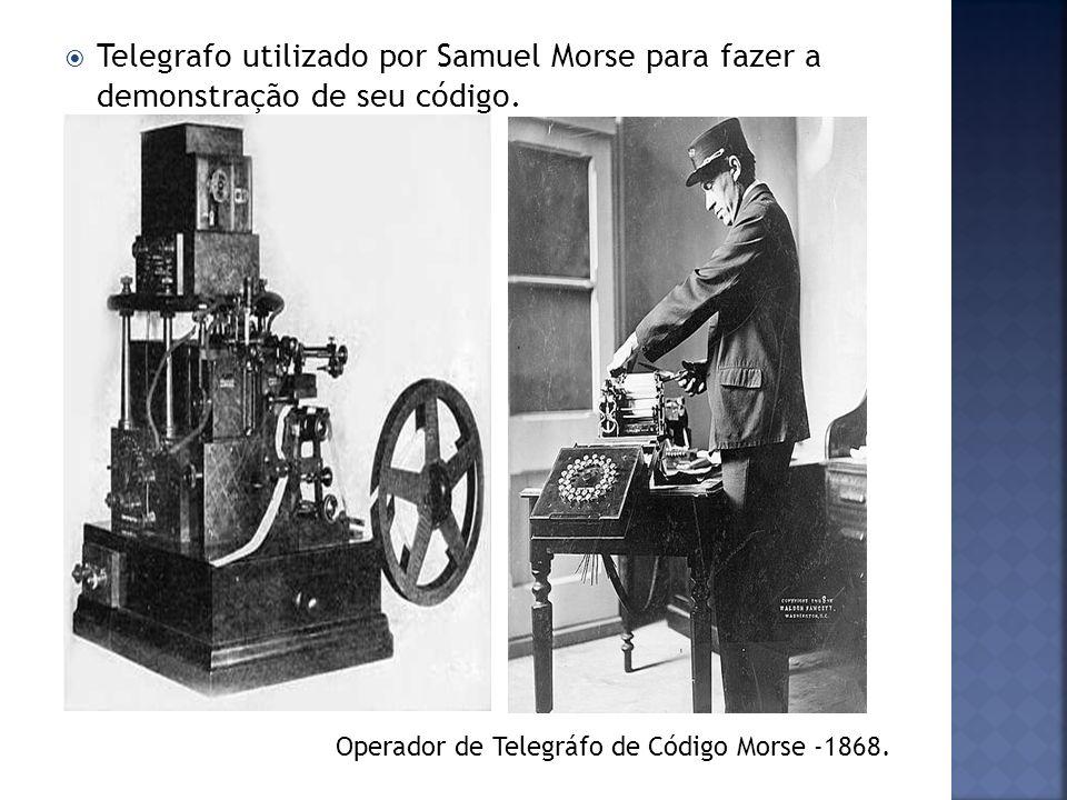 Telegrafo utilizado por Samuel Morse para fazer a demonstração de seu código. Operador de Telegráfo de Código Morse -1868.