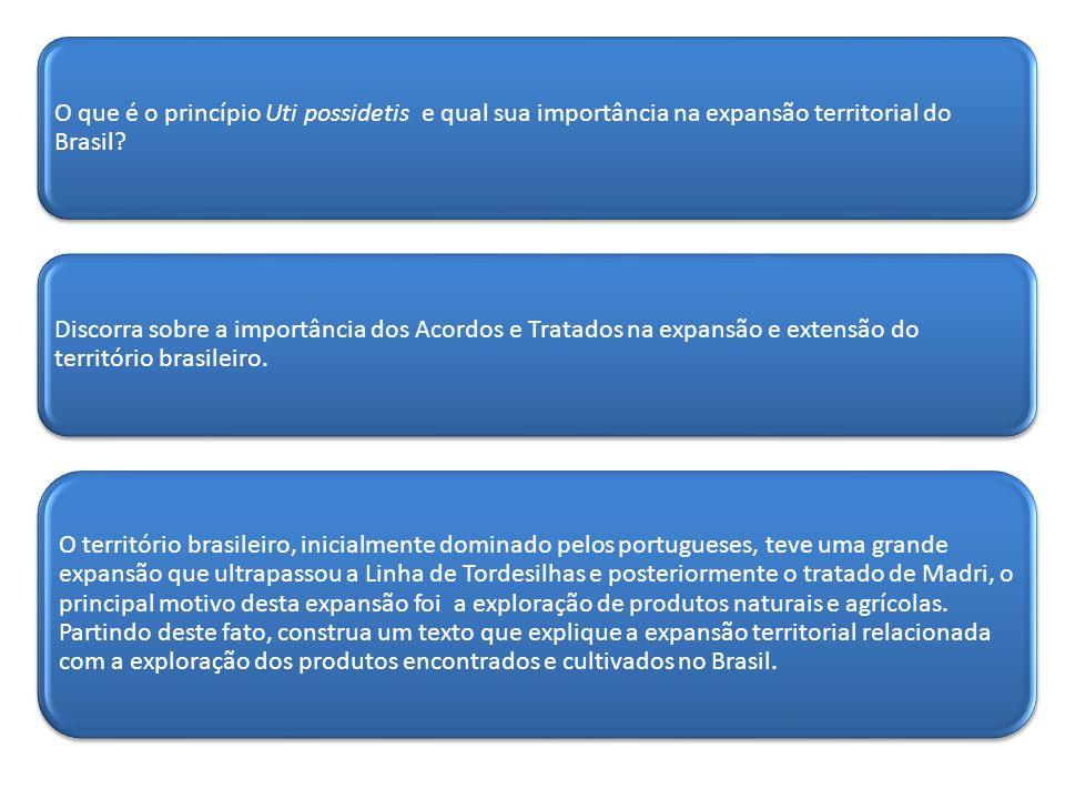 O que é o princípio Uti possidetis e qual sua importância na expansão territorial do Brasil? Discorra sobre a importância dos Acordos e Tratados na ex