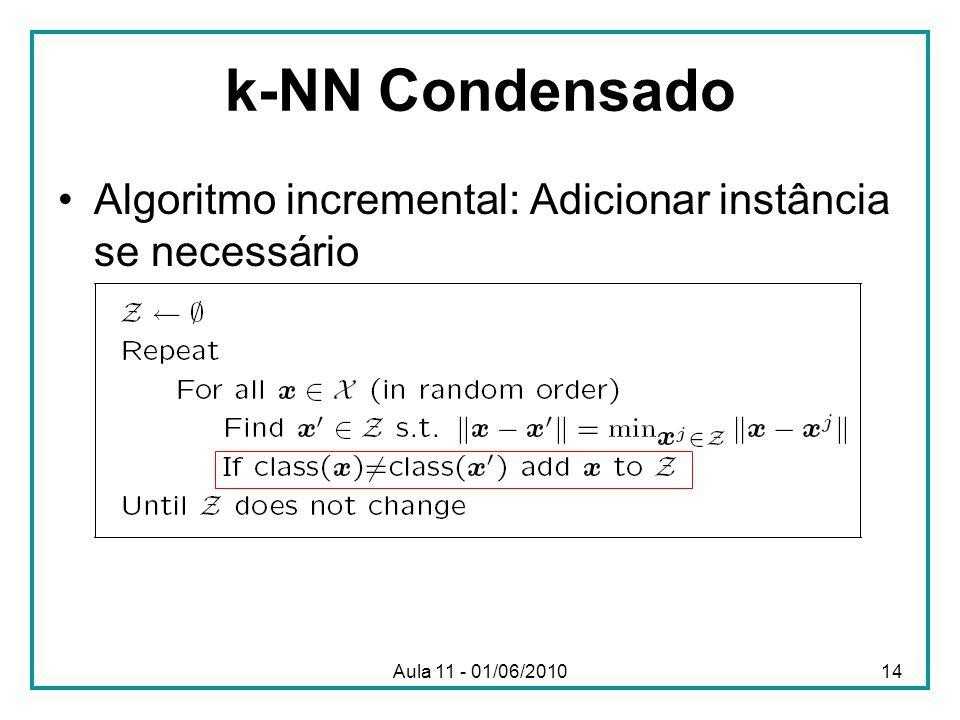 Aula 11 - 01/06/2010 k-NN Condensado Algoritmo incremental: Adicionar instância se necessário 14
