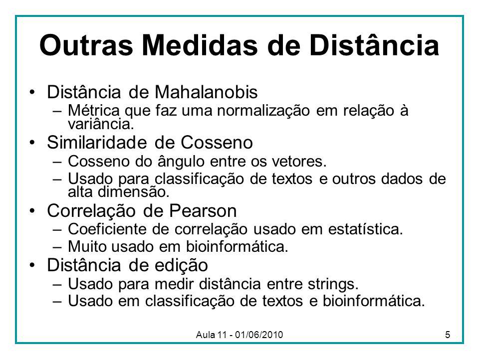 Outras Medidas de Distância Distância de Mahalanobis –Métrica que faz uma normalização em relação à variância. Similaridade de Cosseno –Cosseno do âng