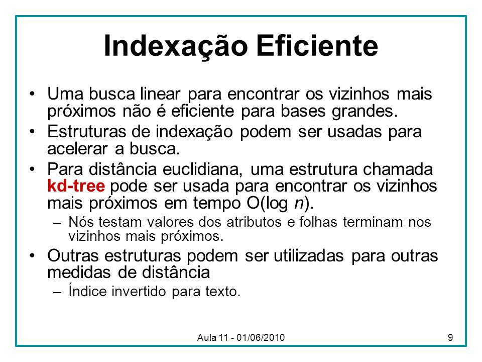 Indexação Eficiente Uma busca linear para encontrar os vizinhos mais próximos não é eficiente para bases grandes. Estruturas de indexação podem ser us