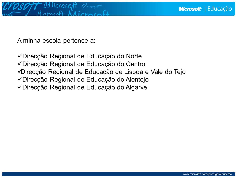 A minha escola pertence a: Direcção Regional de Educação do Norte Direcção Regional de Educação do Centro Direcção Regional de Educação de Lisboa e Va