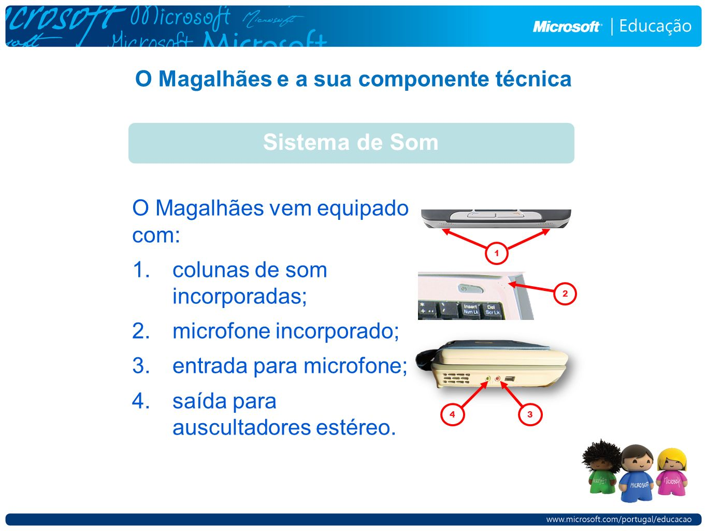 O Magalhães e a sua componente técnica Sistema de Som O Magalhães vem equipado com: 1.colunas de som incorporadas; 2.microfone incorporado; 3.entrada