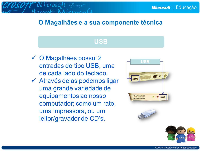 O Magalhães e a sua componente técnica USB O Magalhães possui 2 entradas do tipo USB, uma de cada lado do teclado. Através delas podemos ligar uma gra