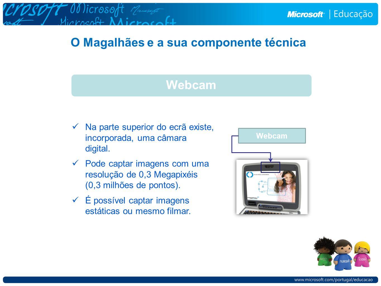 O Magalhães e a sua componente técnica Webcam Na parte superior do ecrã existe, incorporada, uma câmara digital. Pode captar imagens com uma resolução