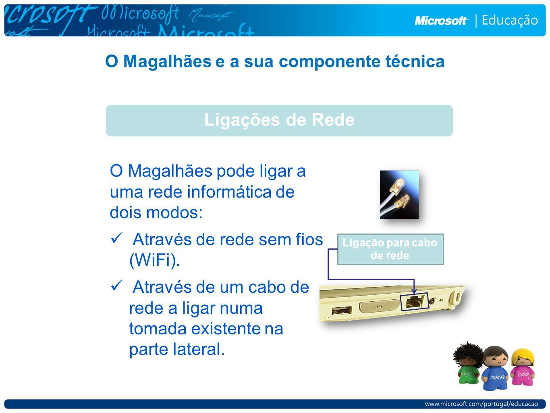 O Magalhães e a sua componente técnica Ligações de Rede O Magalhães pode ligar a uma rede informática de dois modos: Através de rede sem fios (WiFi).