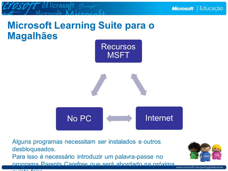 Microsoft Learning Suite para o Magalhães Recursos MSFT InternetNo PC Alguns programas necessitam ser instalados e outros desbloqueados. Para isso é n