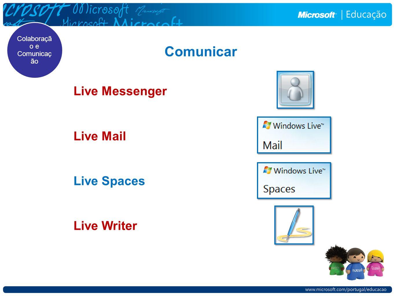 Comunicar Live Messenger Live Mail Live Spaces Live Writer Colaboraçã o e Comunicaç ão